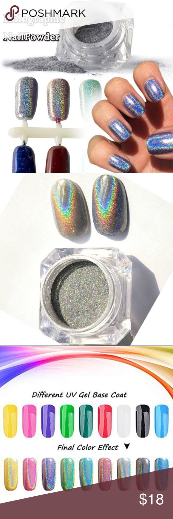 🎀New list! 🎀 Holographic nail powder! This holographic Nail powder is a fun was to spice up your nails! Is a amazing with any base coat you use! As seen in picture different color bass oats equal slightly different fun holographic shades! This list comes with a container of the power and an application brush! See picture above for application instructions! Makeup