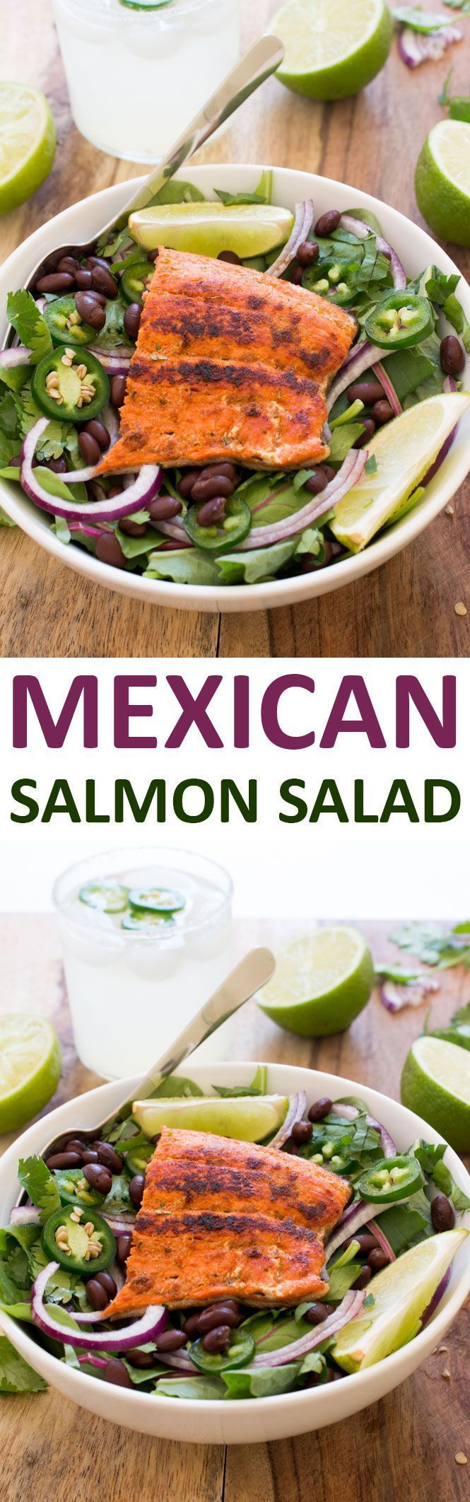 Mexican Salmon Salad with a Creamy Cilantro Lime Dressing. Full of flavor and ready in less than 20 minutes! Perfect for busy weeknights. | chefsavvy.com #recipe #salmon #salad #mexican