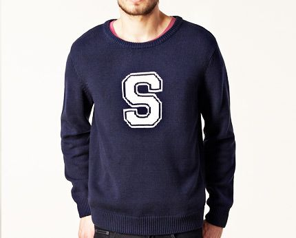 Navy Men's Crew Neck Knitted Jumper