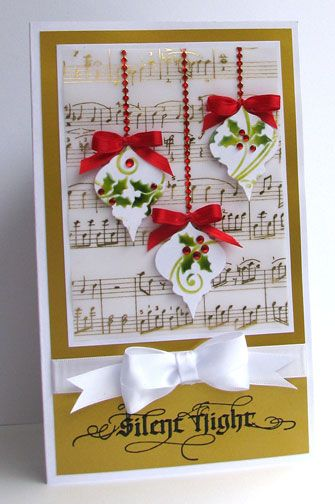 layout, gold embossed vellum paper  *use my SU Musical Notes wheel, check Cricut cart Joys Of The Season for the ornaments