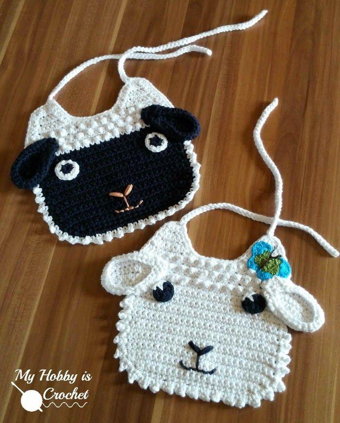 Little Lamb Crochet Baby Bib | Free Crochet Pattern | My Hobby is Crochet. FP…