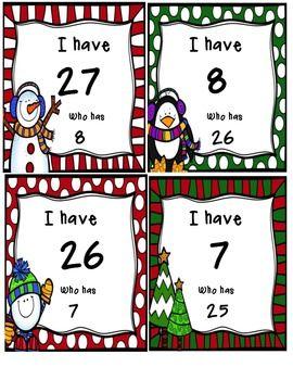 I have !! Who has ?? Numbers 1-30 Christmas Freebie
