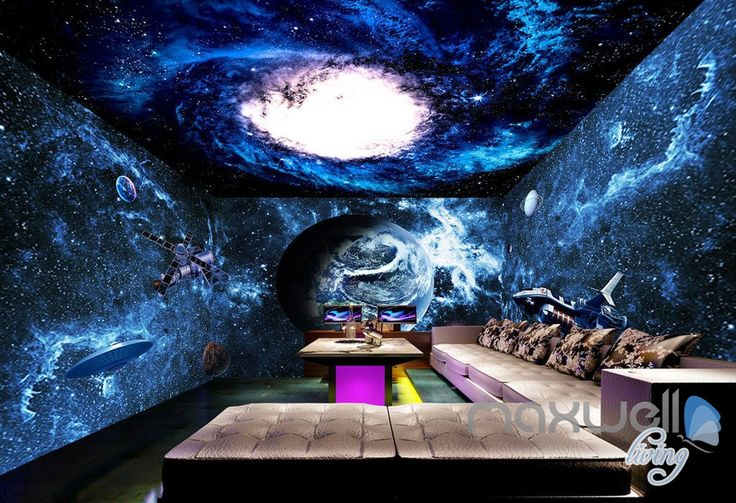 25 best ideas about 3d wall murals on pinterest tree for Space wallpaper for kids room