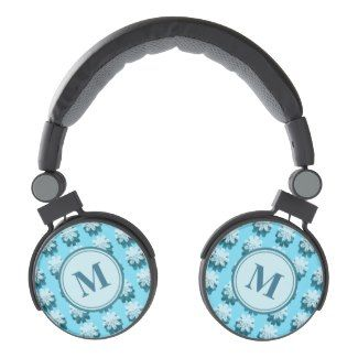 Blue Snowflake Pattern monogram, Customizable  DJ Style Headphones
