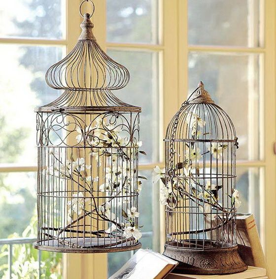 Decoration of decor or how to use a cage for birds in the interior