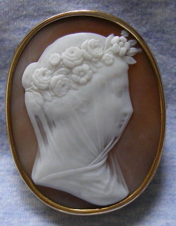 The veiled bride | carnelian shell brooch, ca. 1860