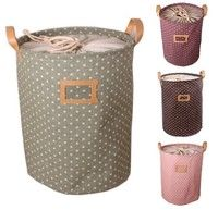 Wish | Leaveland Zakka 3 Sizes Handle Stackable Dots Storage Buckets Laundry Bags Cotton Linen