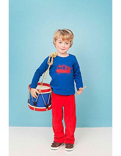 Kobaltblauwe sweater Miel met brandweerwagen - Lily-Balou - Pepatino.be