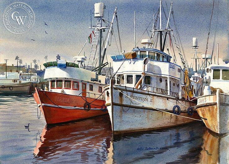 Harbor Boats – California Watercolor