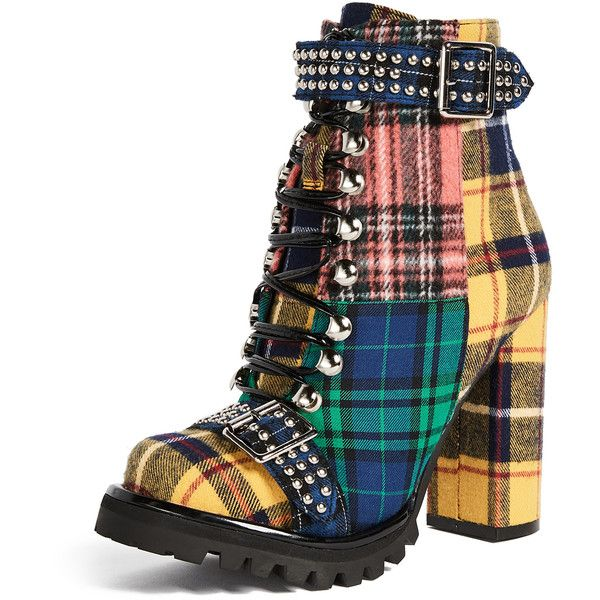 Jeffrey Campbell Lilith Block Heel Boots ($150) ❤ liked on Polyvore featuring shoes, boots, laced up boots, studded boots, lace-up boots, military lace up boots and chunky heel lace up boots