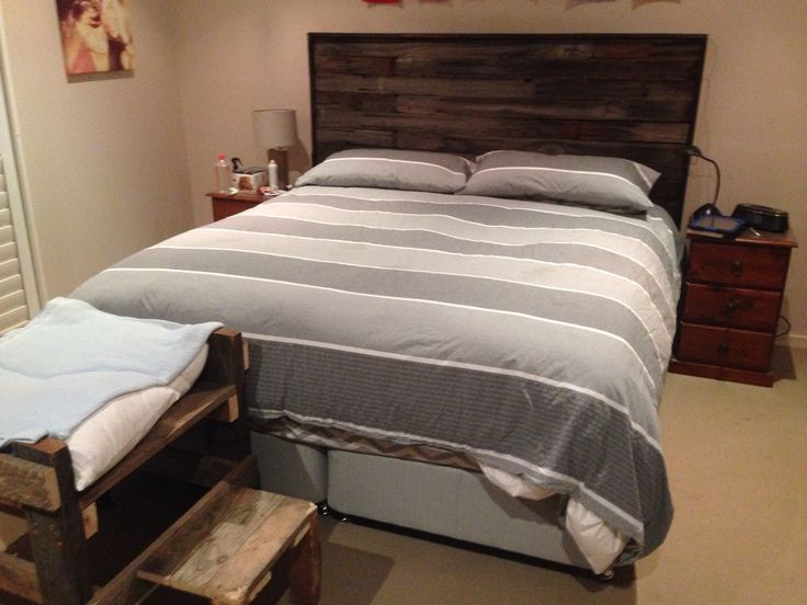 Bed-head made with recycled timber from old pallets
