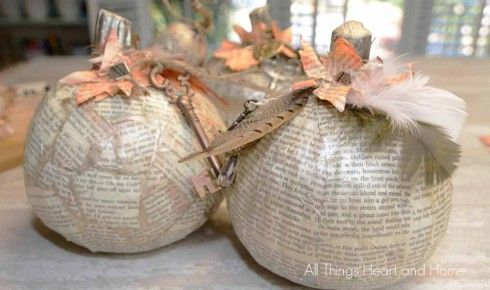 Book Page Pumpkins - All Things Heart and Home