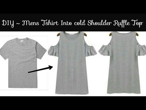 48000ba9df1676 No sew)DIY Convert Men s Old T-shirt Into Cold Shoulder Crop Top ...