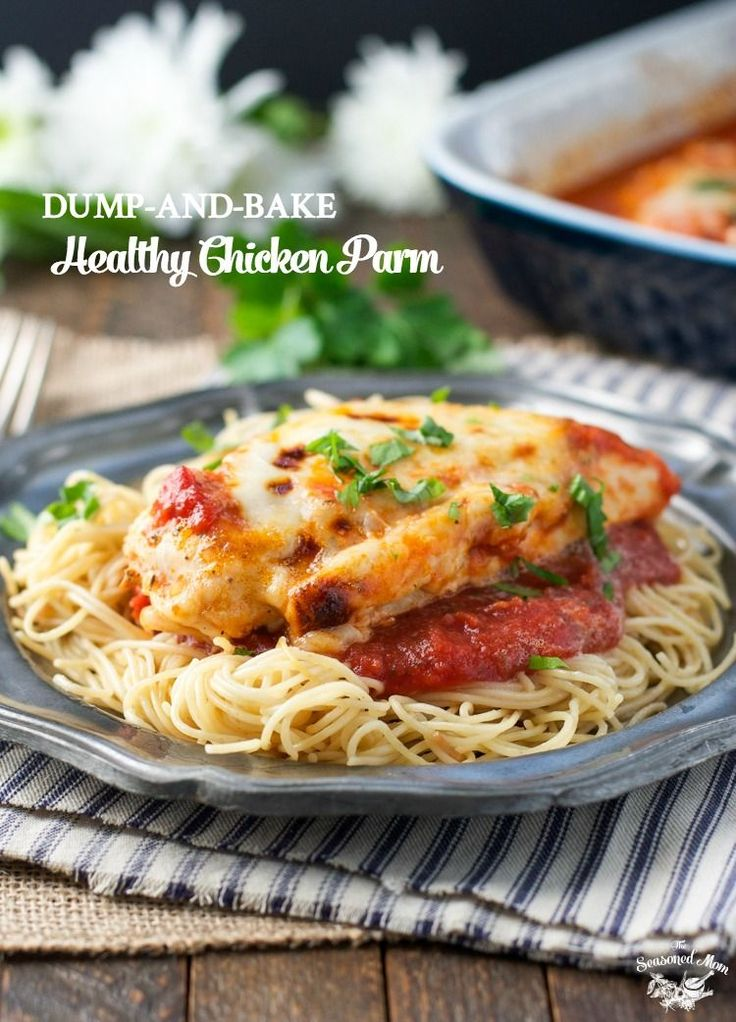 Just as cheesy and kid-friendly as the original, this Dump-and-Bake Healthy Chicken Parmesan is an easy dinner with no prep work necessary!