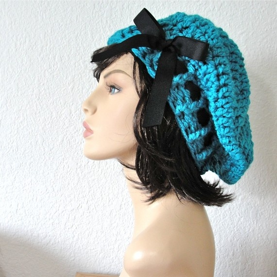 20d314456e6 Items similar to School Girl Beret - Turquoise Beret Hand Crocheted Slouchy  Hat with Black Grosgrain Ribbon on Etsy