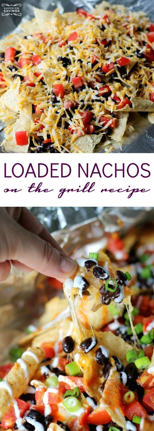 Loaded Nachos on the Grill Recipe! Easy Grill Pack Recipe for barbecues and cookouts! Chips, Chicken, and Cheese for an easy dinner meal!