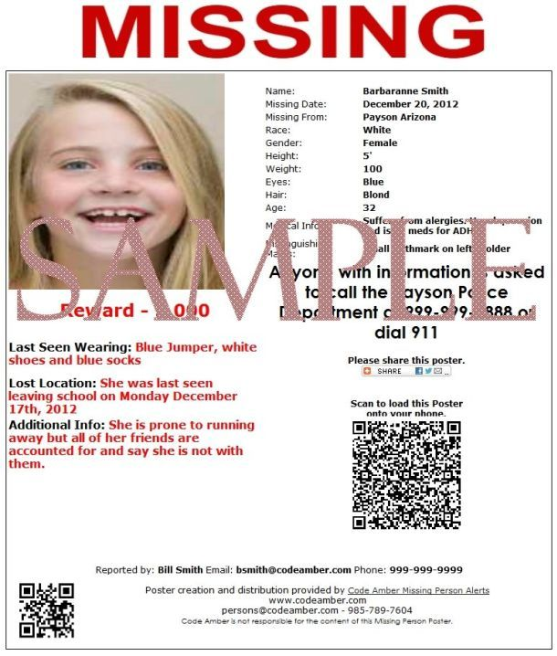 Please spread the word about Code Amber Missing People Reporting