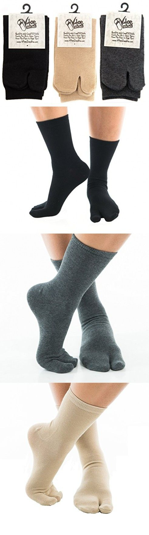 3 Pairs - V-Toe Black, Khaki, Grey Flip Flop Tabi Socks