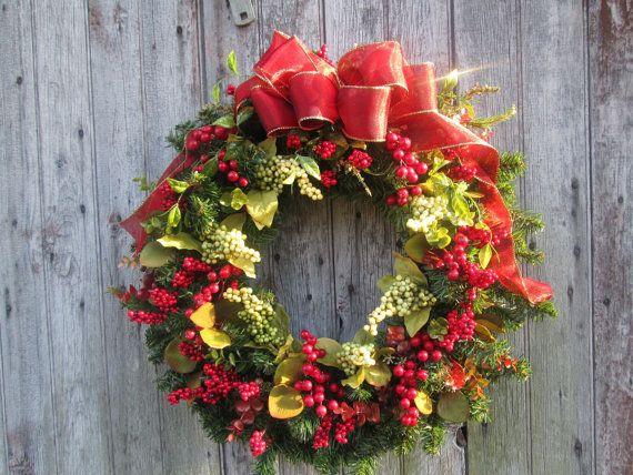 Red Berry Pine Wreath  Front Door Wreath  by FloralXchange on Etsy