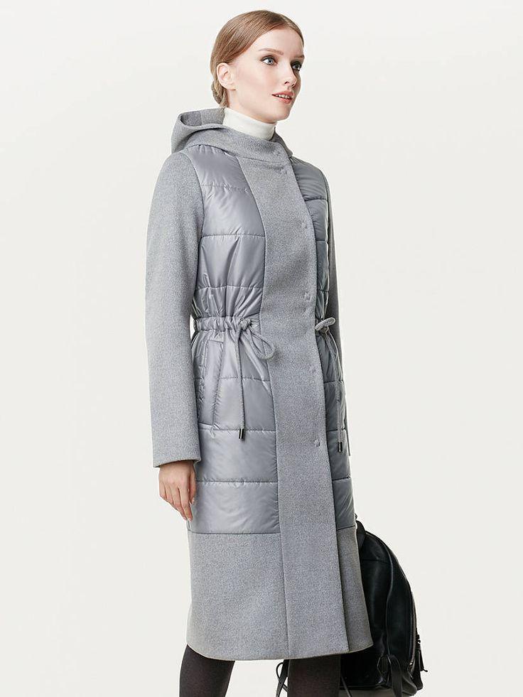 Пальто утепленное с подогревом цвет светло-серый, Пальтовая ткань, артикул 1019040p80091