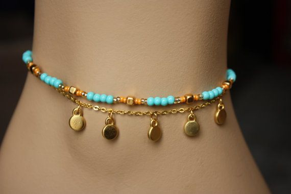Double Strand  Dainty,Boho Chic Anklet on Etsy, $22.00