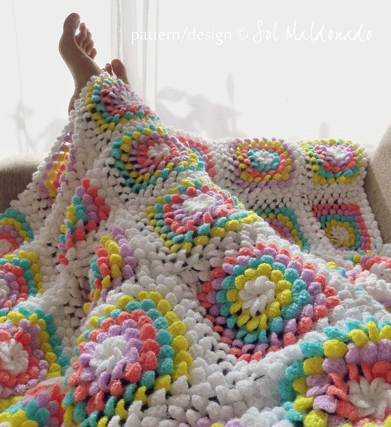 Blanket crochet pattern - Yummy Flower granny square - photo tutorial baby floral blanket - Instant DOWNLOAD