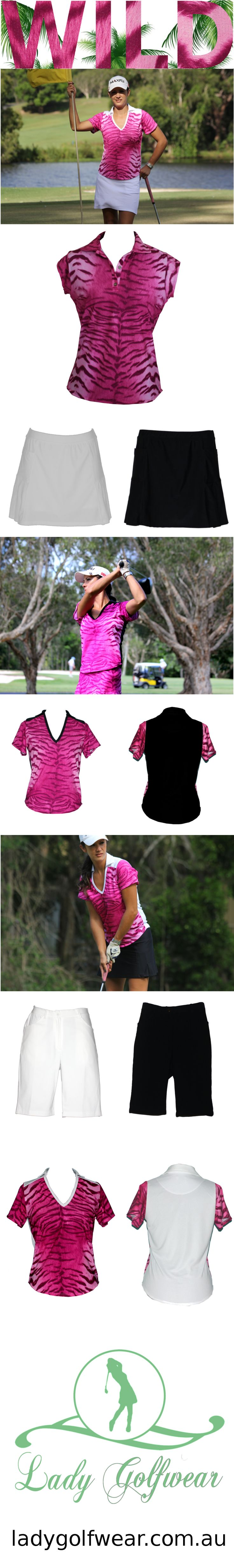 Women's golf clothes, made in Australia from high quality sports fabrics. Wild collection now on sale! #freeshipping #womensgolfclothes #golfclothes #madeinaustralia #golf #sale