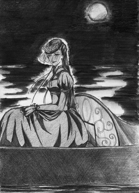 Lady of the Night~      Tools : pencil 2B, black watercolor pencil  .        I ruined the background!! oh noooo !! I thought using watercolor pencil can do a total black background.. but no... T_T I ruined ittttttt ! aaaaaaa!  errr.. comment and critique please (yeah, i know the background is one of the problems)