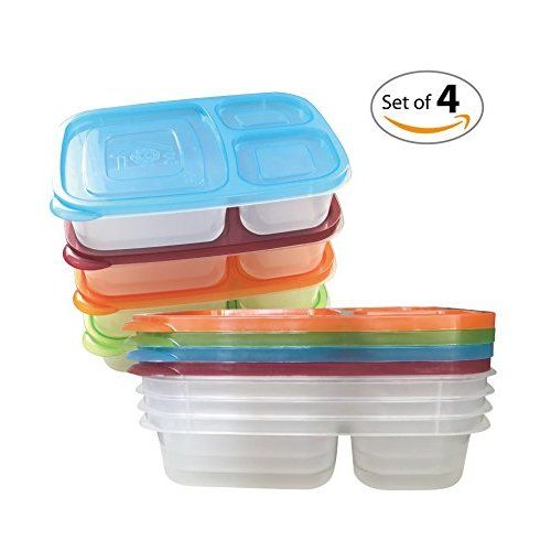 easylunchboxes 3 compartment bento lunch box containers set of 4 classic lunch ideas. Black Bedroom Furniture Sets. Home Design Ideas
