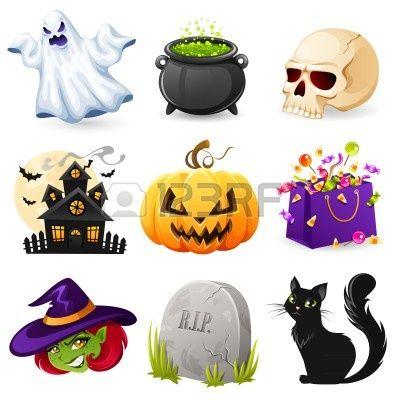 Conjunto de iconos de Halloween Foto de archivo