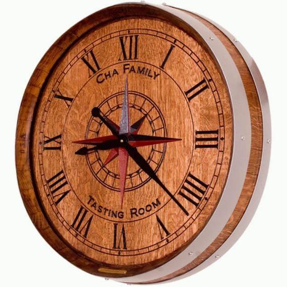 Personalized Wine Barrel Clock Wine Country Style Barrel Decor Wine Barrel Clock Wine Barrel Barrel Decor