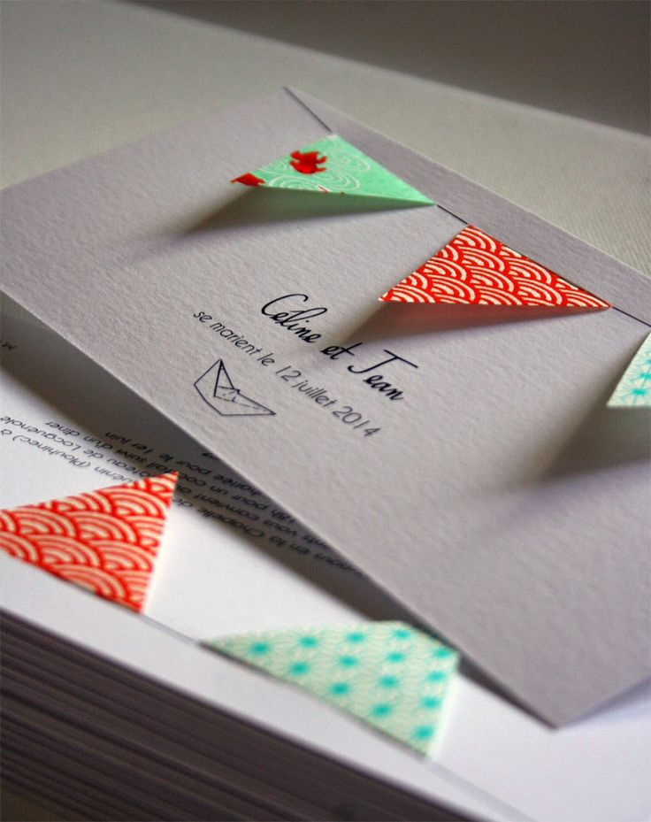 faire-part mariage fanions papier japonais fait main cadeau invité