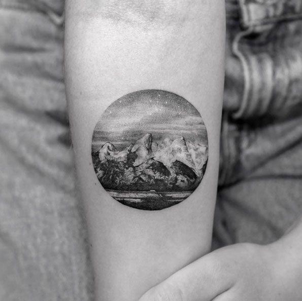 Jackson Hole Landscape Tattoo by Sanghyuk Ko