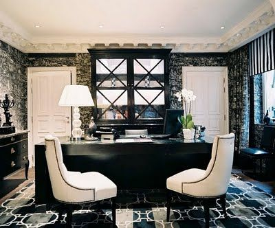 black and white office. This will be my office in my next home.