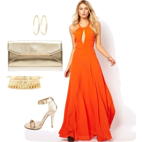 """Orange maxi dress with gold accessories"" by dominique-dennoun on Polyvore"