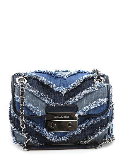 Michael Kors - Borse - Accessori - Borsa in tessuto jeans, con chiusura a gancio e catena metallica silver. Misure 21 x 17 cm. - MULTI BLUE - € 275.00