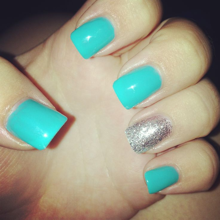 teal acrylic nails ideas