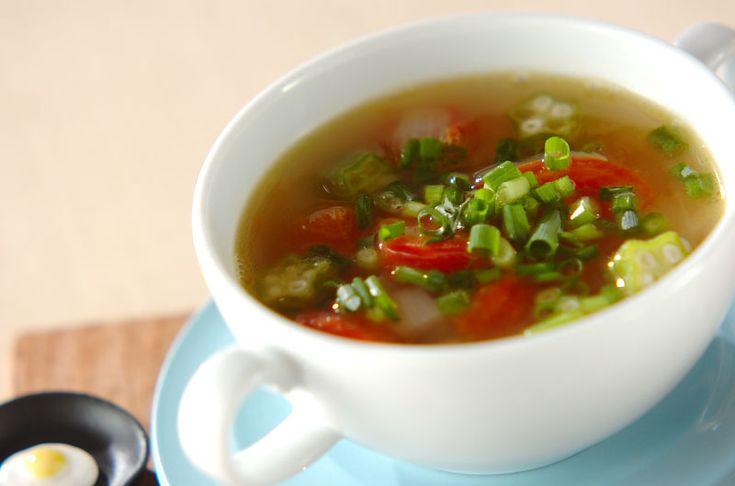 バターを少し加える事でコクと風味がアップ!オクラとトマトのスープ/杉本 亜希子のレシピ。[洋食/シチュー・スープ]2014.08.18公開のレシピです。