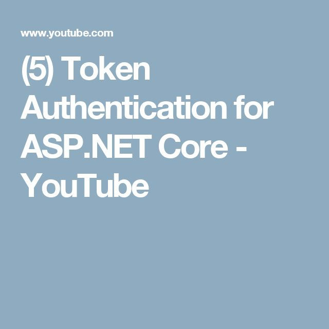 (5) Token Authentication for ASP.NET Core - YouTube