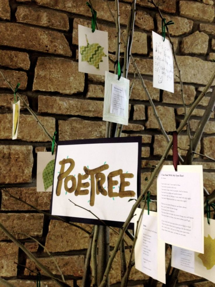 This is almost corny but I think it's adorable, especially if I could get an actual tree instead of just limbs found in my yard. Downside could be the cleanup from the tree, but it's a creative way to show students different poems they should know, as well as displaying any poetry I have them do.