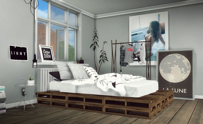 DIY Rustic Pallet Bed Part 1 at MXIMS via Sims 4 Updates                                                                                                                                                      More