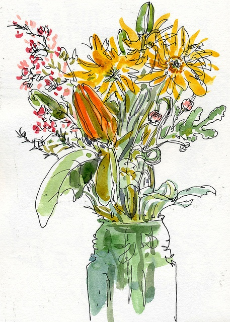 One of the sketches I found using Urban Sketchers - Bay Area. This drawing captures three of my favorite things: drawing, watercolors and gardening.