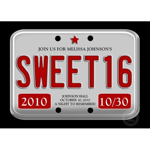 Red License Plate Sweet Sixteen invitation