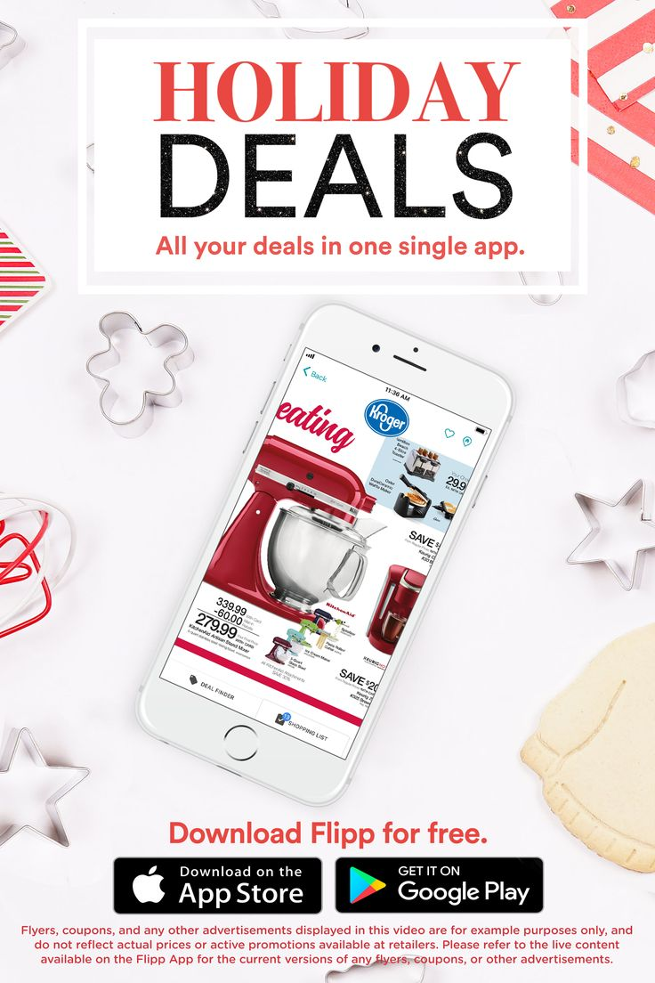 All of your favorite holiday grocery deals in one place: the Flipp app. Find ingredients for your holiday meals, clip coupons, create a shopping list and saving money during the holiday season. Download for free.