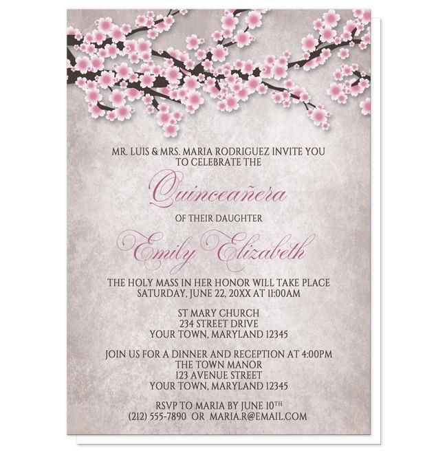 I wanted to share with you these Rustic Pink Cherry Blossom Quinceañera Invitations? Do you like them?  | Beautiful pink cherry blossom Quinceañera invitations for your floral themed 15th birthday celebration. Rustic cherry blossom Quinceañera invitations featuring an illustration of pink and white with dark brown cherry blossom branches. This floral pink cherry blossom design is along the top of the invitations over a stony grayish brown almost marble-like texture background image. These…