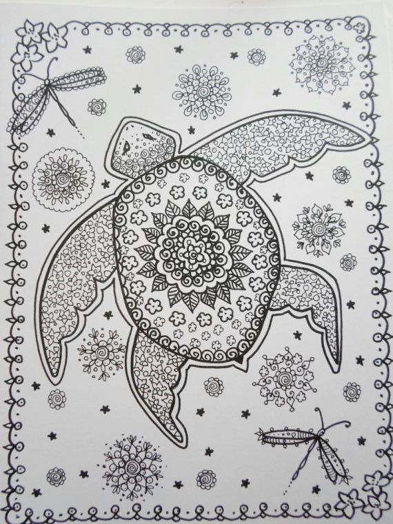 Sea Turtles Coloring Book Page colouring adult detailed advanced printable Zentangle Kleuren voor volwassenen coloriage pour adulte anti-stress kleurplaat voor volwassenen Line Art Black and White https://www.etsy.com/shop/ChubbyMermaid
