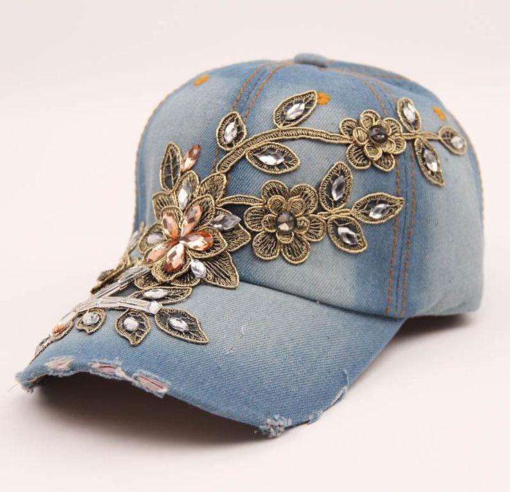 Damen Baseball Kappe Jeans Denim Strass Baseball Cap Kappe Retro vintage Hut Neu | eBay
