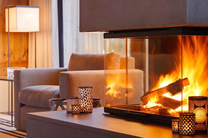 Fireplace in house in Switzerland