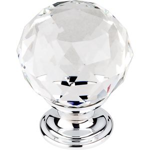 "Top Knobs - Crystal - 1 3/8"" (35mm) Diameter Knob in Clear Crystal with Polished Chrome"