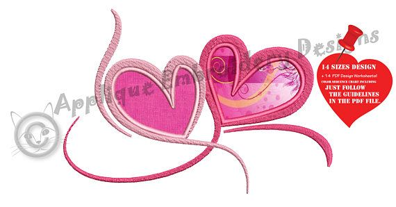 Hearts Love  Embroidery Applique Design Shapes